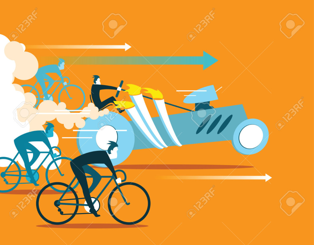 Powerful car overtaking bicycles. Business is forging ahead. Illustration